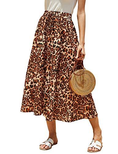Imysty Womens Leopard Print Long Skirts Drawstring High Waisted Bohemian Maxi Skirt (X-Large, Z-Yellow) ()