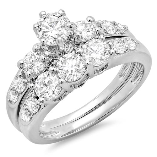 3ct Past Present Future Ring - 3.00 Carat (ctw) 10K White Gold White Cubic Zirconia 3 Stone Engagement Ring Set 3 CT