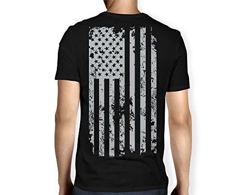 Mens Silver American V neck T shirt
