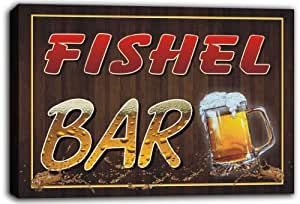 scw3-010023 FISHEL Name Home Bar Pub Beer Stretched Canvas Print Sign