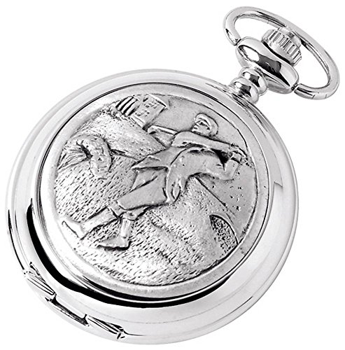 - Woodford Mens Golfer Chrome Plated Double Full Hunter Skeleton Pocket Watch - Silver