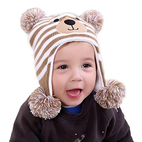 (Wnitefg Striped Bear Toddler Boys Girls Fleece Lined Knit Kids Hat with Earflap Winter Hat Brown)