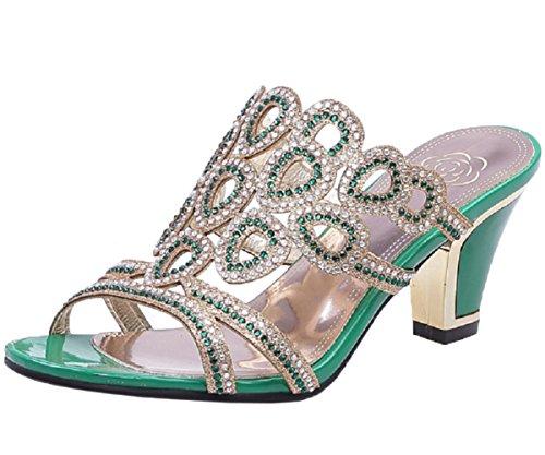 Femmes HooH Sandales Brillant Chunky Vert Toe Diamond Peep Fqawqd