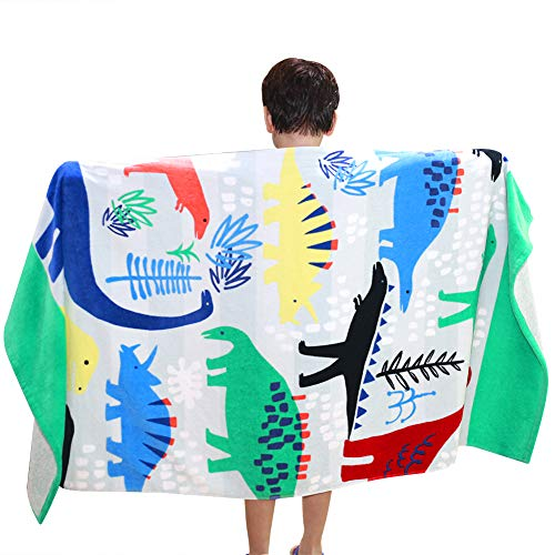 Bavilk Kids Bath/Beach Towel Blanket 31x63 inch Multi-Purpose Dinosaur Towel for Travel, Beach, Swimming, Bath, Camping, and Picnic