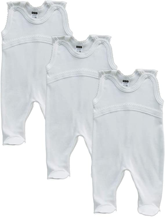 Creme Baby Strampler Wei/ß MEA BABY Unisex Baby Strampler aus 100/% Bio-Baumwolle im 3er Pack Baby Strampler f/ür M/ädchen Baby Strampler f/ür Jungen.