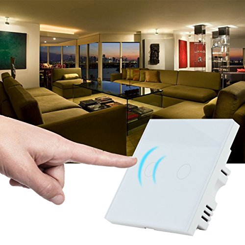 Smart Wall Switch,Crystal Glass Pane, Digital Touch Screen, Dimmer Control Home Wall Light Switch White White 2 Way