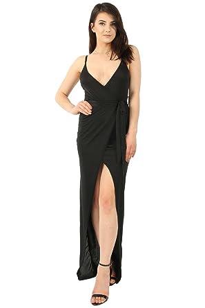 0821e4c7e46 MISSI LONDON New Womens Ladies Slinky Wrap Tie Waist Maxi Dress (12 ...