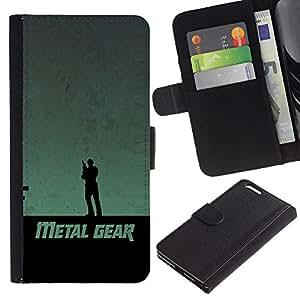 Apple (5.5 inches!!!) iPhone 6+ Plus / 6S+ Plus - Dibujo PU billetera de cuero Funda Case Caso de la piel de la bolsa protectora Para (Metal Gear)