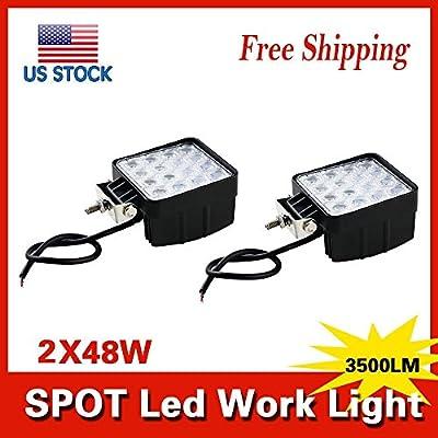 HAITRAL 48w Square Shape 3500LM LED Work Light Spot Lamp 16 LEDs SUV Off-road Boat Headlight Spot Beam 30° Driving Light Waterproof Square Car Lamp Fog Lamp,Camping,Courtyard Lamp,Day Light(2PCS)