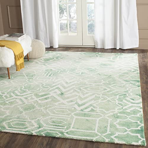 Safavieh Dip Dye Collection Handmade Abstract Watercolor Wool Area Rug, 9 x 12 , Green Ivory