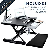 Height Adjustable Standing Desk with Anti-Fatigue Mat & Cup Holder | HeroDesk Wide Surface Ergonomic Stand Up Workstation - Sit Stand Converter Riser - Compact Desktop Computer Laptop Work Table - 35""