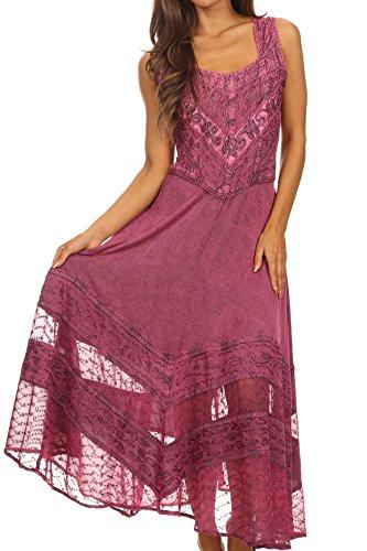 [Sakkas 15225 - Zendaya Stonewashed Rayon Embroidered Floral Vine Sleeveless V-neck Dress - Orchid -] (Pink Renaissance Dress)