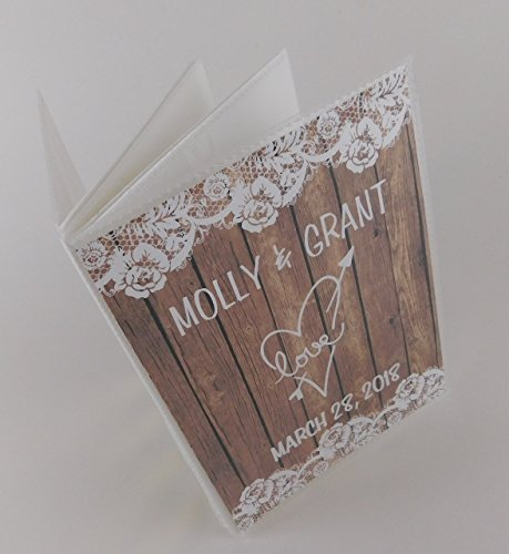 - Rustic Wedding Photo Album- PRINTED wood and Lace- IA# 375 engagement anniversary- NOT REAL WOOD