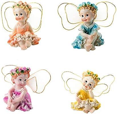 rycnet - Juego de 4 Figuras Decorativas de Resina, diseño de Hadas: Amazon.es: Hogar