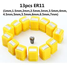 ER11 Collet Set, 13PCS ER11 Collet Chuck CNC Spindle ER-11 Collet Lathe Tool Holder From 7MM for CNC Milling Lather