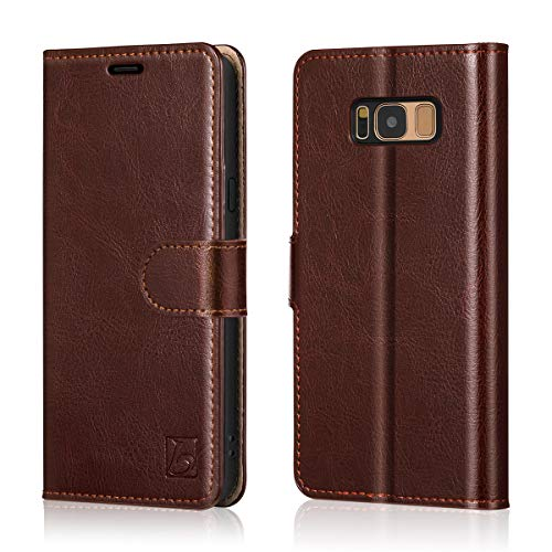 Belemay Samsung Galaxy S8 Plus Case, Genuine Cowhide Leather Wallet Case, Flip Folio Cover with Magnetic Closure, Kickstand, Card Holder Slots, Cash Pockets Compatible Samsung Galaxy S8 Plus, -