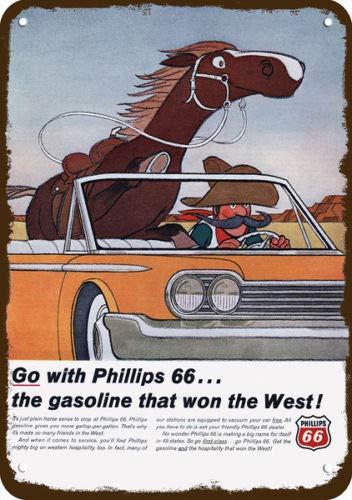 COWBOY HORSE CAR Laptopo 1966 PHILLIPS 66 GAS /& OIL Vintage Look REPLICA METAL SIGN