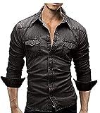 ED express Men's Casual Slim Fit Button Down Dress Shirt Long Sleeve Denim Work Shirts with Pocket(Black Large)