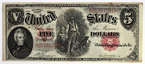 - 1907 Woodchopper $5 United States Note Red Seal Extra Fine XF #22