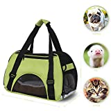 Dog Bag Pet Carriers Bag Cages Power Q Cute Cuisine Breathable Soft-sided Cats Dogs Travel Crate Tote Portable Travel Handbag Shoulder Bag Outdoor (Green)