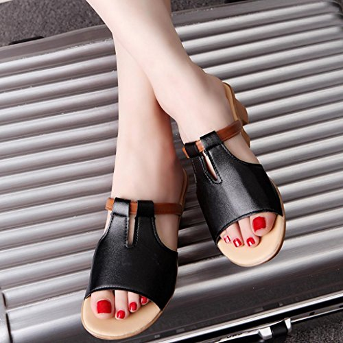 bescita Cut Out Sandalen Fashion Solid Sommerstrand gleitet Hausschuhe Damenschuhe (35, Schwarz)