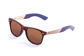 Ocean Sunglasses Beach Lunettes de soleil Bamboo Dark Frame/Wood Dark Arms/Revo Blue Lens