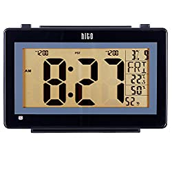 hito 6.3 Atomic Auto time set Digital Desk Wall Clock w/Stand, Dual Alarms, 6 Timezones, Auto Night Light, Brightness Dimmable- Battery Operated (6.3 Black)