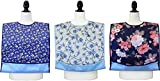 Senior Adult Bib / Clothing Protector for Adults with Waterproof Vinyl Backing & Optional Crumb Catcher - 3 Pack - Paisley, Blue Flower Print, Small Roses Print