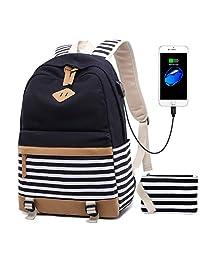 Netchains Mochila de Lona para Laptop, para Mujer, Mochila Escolar con Puerto de Carga USB a Rayas, para portátil de 15,6 Pulgadas