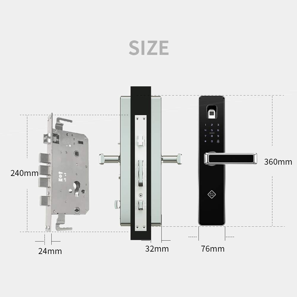 PINEWORLD Q303Plus Advance Fingerprint Smart Door Lock, Intelligent Touchscreen Door Knob with National Biometric Module+RFID Card and Mechanical Key for Home Security, Handle Direction Reversible by PINEWORLD (Image #5)