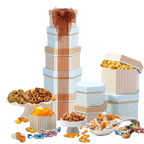Broadway Basketeers Celebration Gift Tower with Sweets & - Tower Popcorn