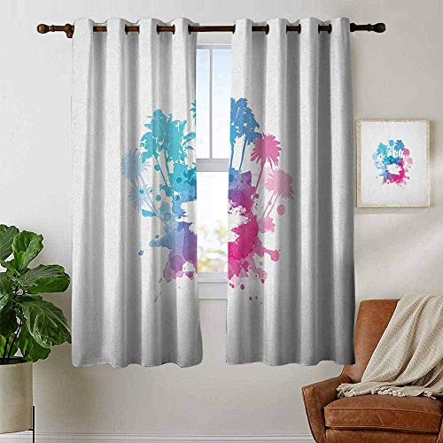 petpany Modern Farmhouse Country Curtains Beach,Palm Trees with Color Splashes Abstract Grunge Illustration Tropical Vacation, Blue Pink White,Design Drapes 2 Panels Bedroom Kitchen Curtains 52