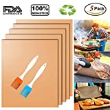 Copper Grill Mat and Bake Mat Set of 5 Non Stick BBQ Grill & Baking Mats - FDA Approved, Reusable, Easy to Clean - Baking on Gas, Electric, Charcoal Grill