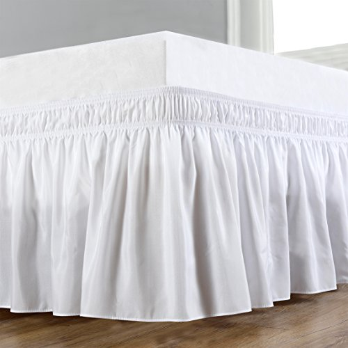 Sale!! Biscaynebay Wrap Around Bed Skirts, Elastic Dust Ruffles, Easy Fit Wrinkle and Fade Resistant...
