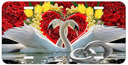 Top Craft Case Swans Heart Shape License Plate Auto Car Tag