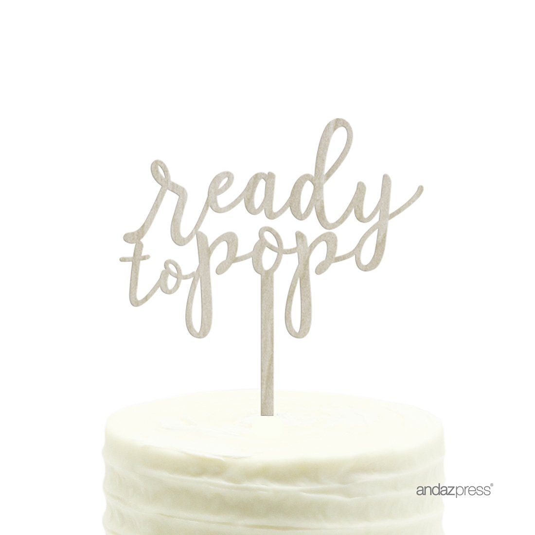 Andaz Press Baby Shower Wood Cake Toppers, Ready to Pop, 1-Pack