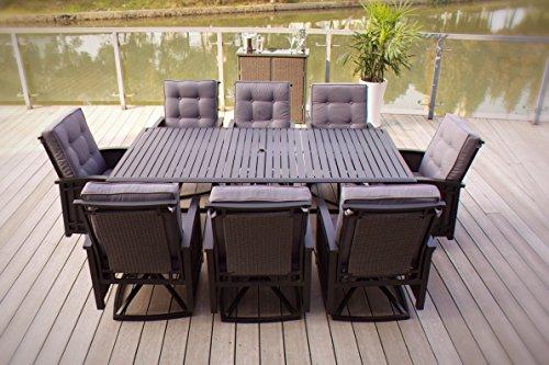 9pc Palmetto Aluminum and Wicker Swivel Patio Dining Set - Black
