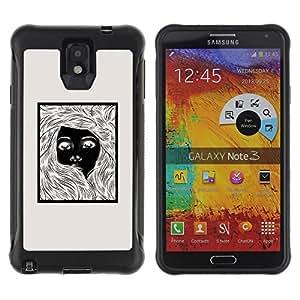Be-Star único patrón Impacto Shock - Absorción y Anti-Arañazos Funda Carcasa Case Bumper Para SAMSUNG Galaxy Note 3 III / N9000 / N9005 ( Girl Black White Poster Beige Pencil )