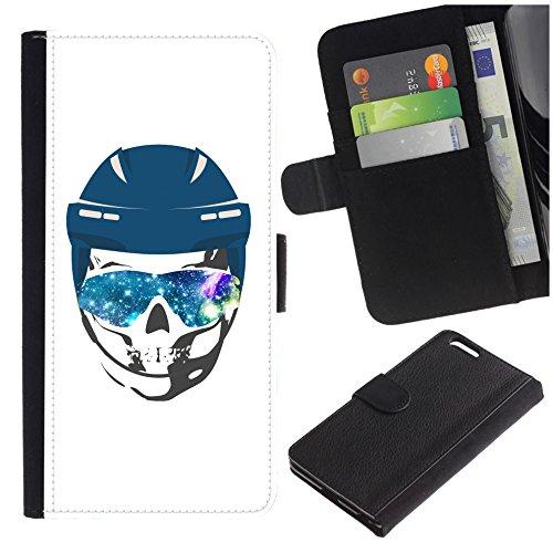 ([Skull Wearing Ice Hockey Helmet and Sunglasses Textured by Nebula Galaxy] for LG Aristo Case/LG Phoenix 3 / K8 2017 / Fortune/Risio 2 / K4 2017 / V3, Flip Leather)