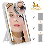 tri fold mirror with lights LED Lighted Vanity Makeup Mirror with Detachable 10X Magnification - Natural Daylight Mirror, High definition, 180 Degree Rotation, Adjustable Brightness, Desktop Room Décor, Portable for Travel
