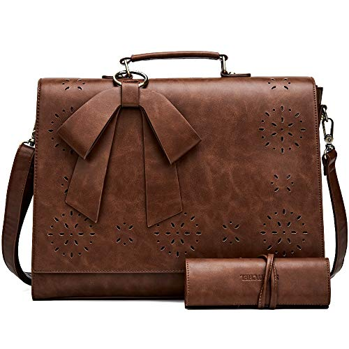 SOSATCHEL Faux Leather Messenger Bag for Women, 15.6 Inch Laptop Bag Briefcase Satchel Shoulder Bag, Brown ()