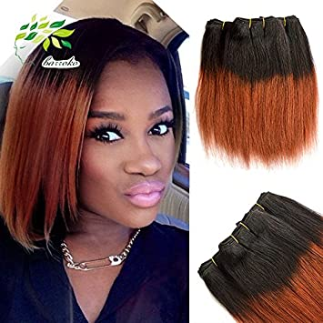 Amazon 8 Inch Brazilian Straight Hair Weave Short Ombre Bobs