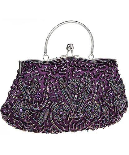 iToolai Satin Purse Evening Handbags Wedding Bag Beaded Sequins Clutch ()