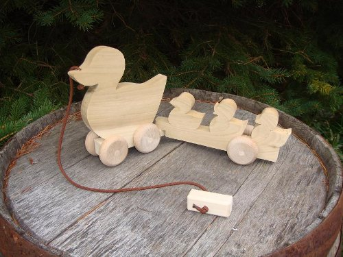 (Child Play - Amish handcrafted wooden pull toy duck and ducklings, measures approximately 14.5