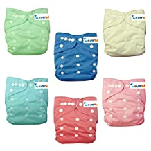 "LOVE MY""(Cinderella Color)""Baby girl Washable Reusable Cloth Diapers,breathable, Adjustable Snap,6 diapers + 12 inserts"