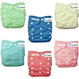 "Love My'' (Cinderella Color)""baby Girl Washable Reusable Cloth Diapers,breathable, Adjustable Snap, 6 Diapers + 6 Inserts"
