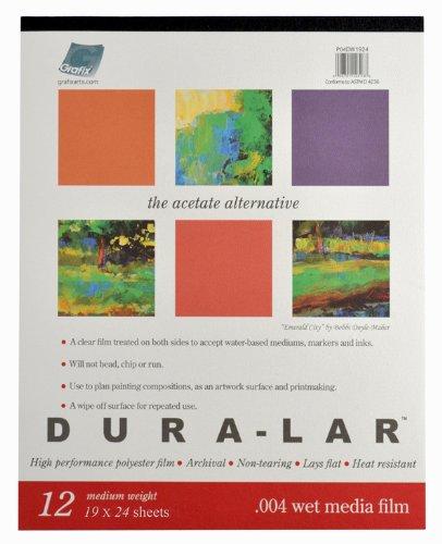 Grafix Wet Media .004 Dura-Lar Film, 19-Inch by 24-Inch, 12 Sheets