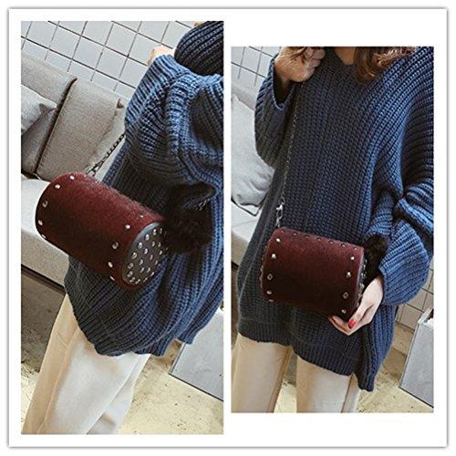 Mini bolso de mujer con un hombro Messenger bag de terciopelo ligero y simple BETY vino tinto