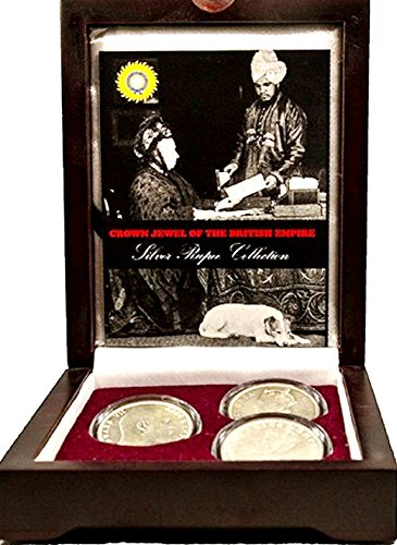 UK 1858 Crown Jewel of the British Empire,3 Silver Rupee Coin Set Beautiful Presentation Box With Certificate and Story Card Very Good ()