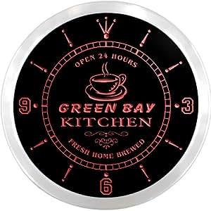 ncpc2312-r verde bahía Home Kitchen Open Bar cerveza neón señal LED reloj de pared